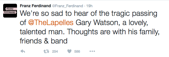 the lapelles gary watson death tweet franz ferdinand